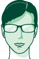 Vector self-portrait of just my face in green, wearing glasses.
