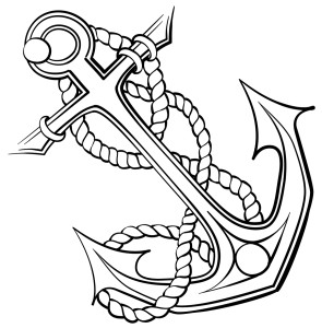 Black and white line art sketch of an anchor