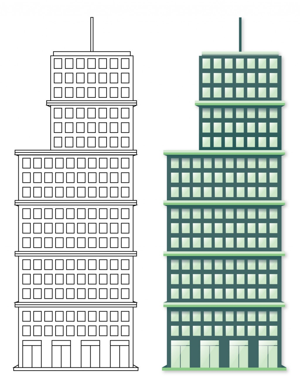 Two illustrations. Top: line art building, Bottom: color filled building. Green skyscraper building.