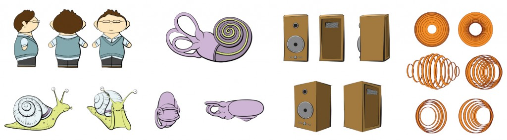 Color character studies for an ear animation. From left to right: a boy wearing a blue sweater vest, a snail, cochlea, a speaker, and a sound wave.