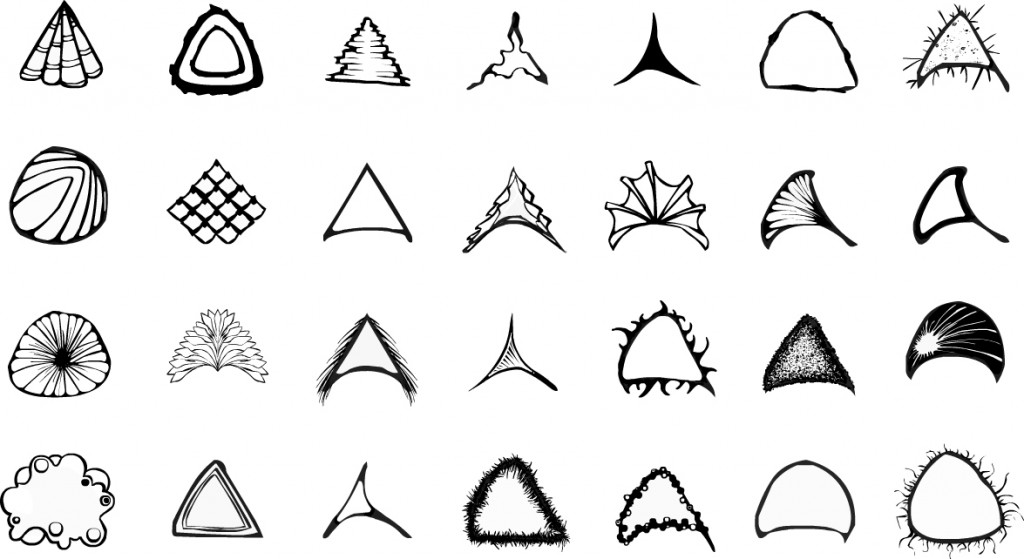 Final designs for different segments for organisms. There are twenty-eight different segments a player can have. Black and white line.