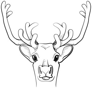 Black and white line art sketch of a deer from a game of exquisite corpse.