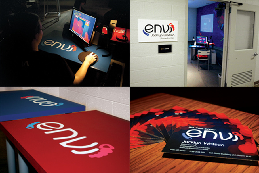 Photos of the installation that went with Envi, for my BFA thesis presentation. There are four photos. Upper left, someone playing the game at one of the desk. Upper right, sign outside the room, peeking into the installation room. Bottom left, a photo of the desks with the Envi logo painted on them. Bottom right, small business cards with information about Envi and how to contact me.