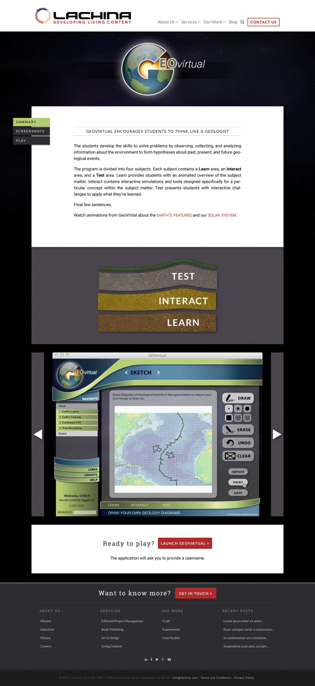Mock up redesign of Lachina website, a sample showing how a featured portfolio piece page might look.