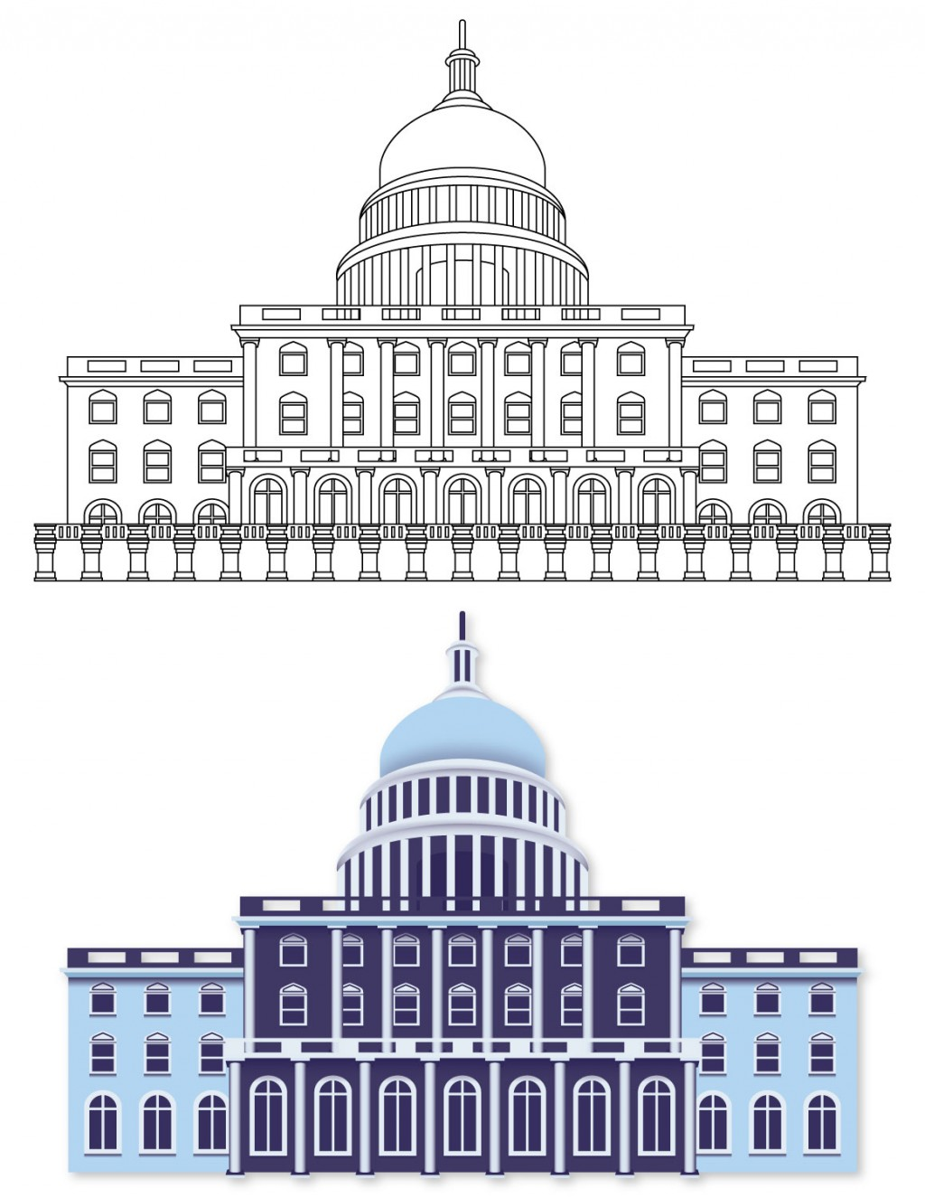Two illustrations. Top: line art building, Bottom: color filled building. Blue government building.