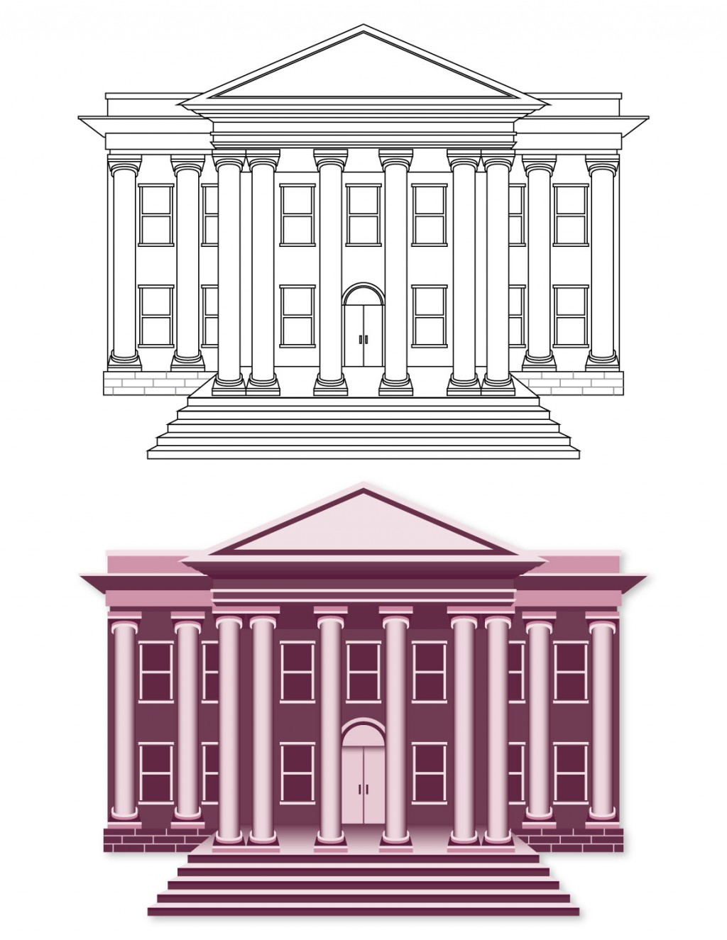 Two illustrations. Top: line art building, Bottom: color filled building. Pink government building.
