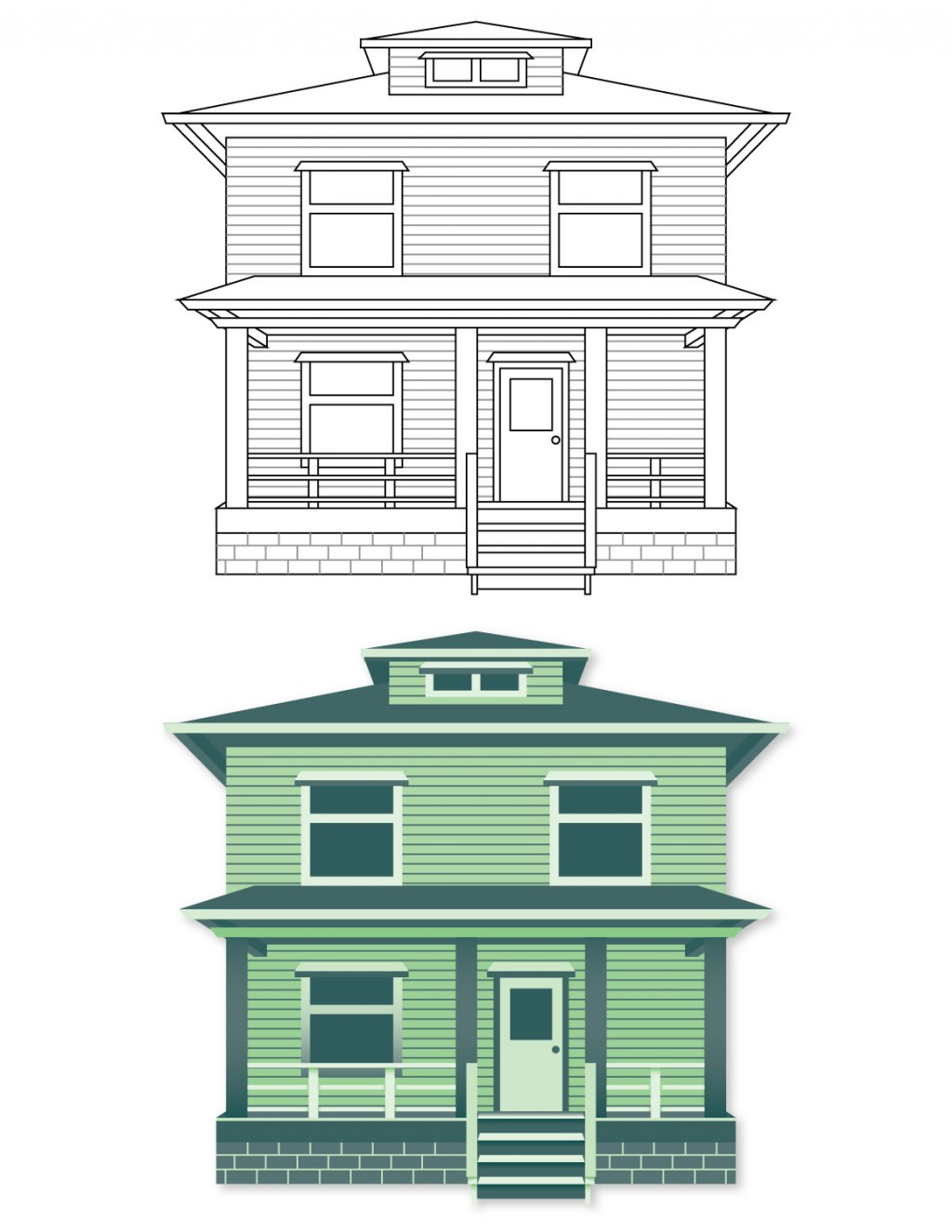 Two illustrations. Top: line art building, Bottom: color filled building. Green house.