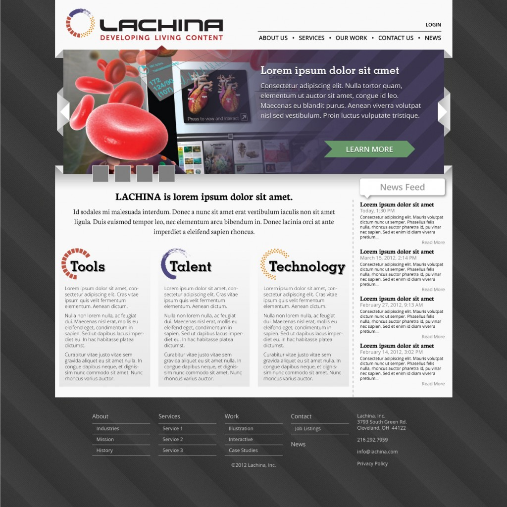 Mock up redesign of Lachina website main page.