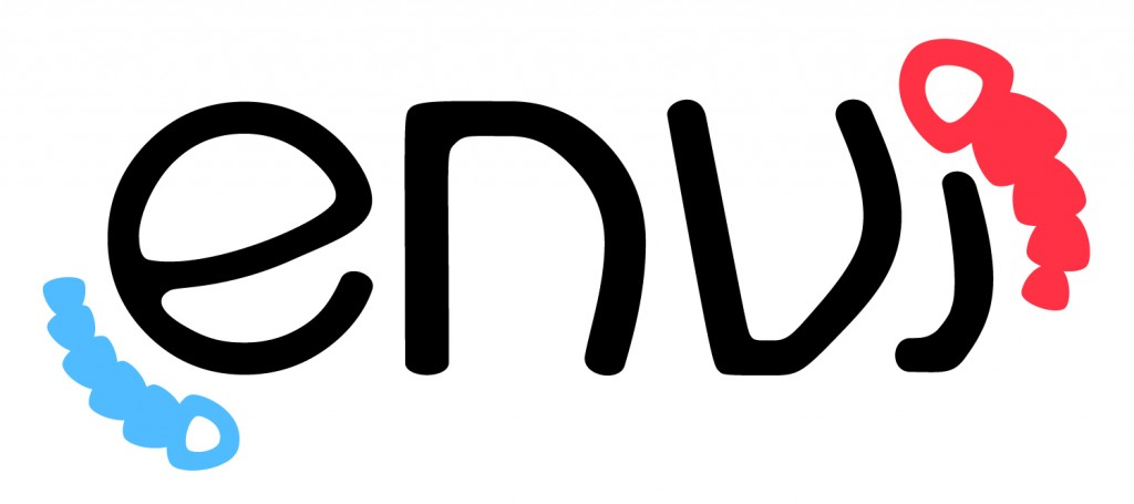 Logo for Envi. Black text with blue organism to the left, and a red organism to the right.