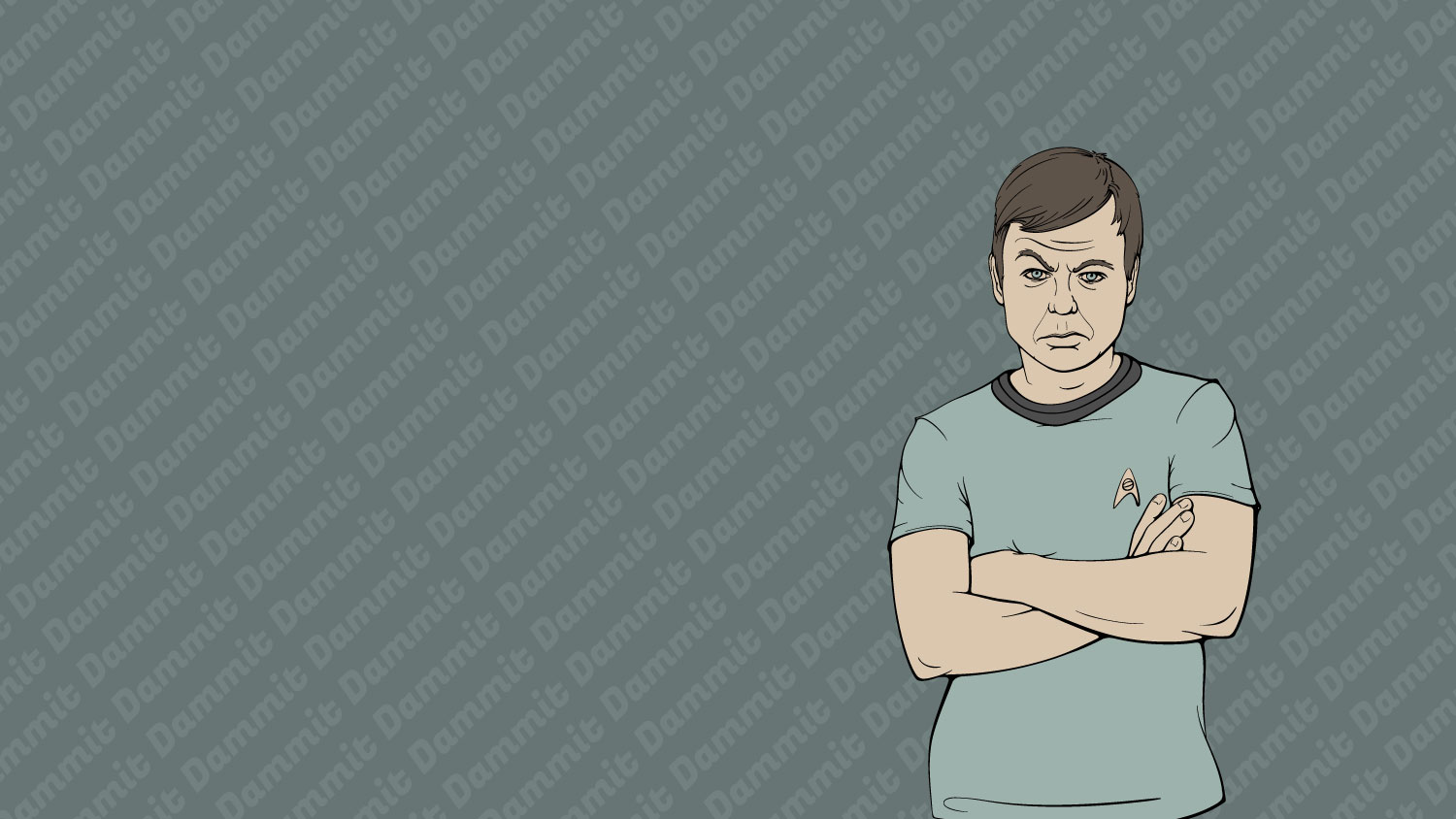 "Desktop background illustration of Leonnard ""Bones"" McCoy from Star Trek. Full background."