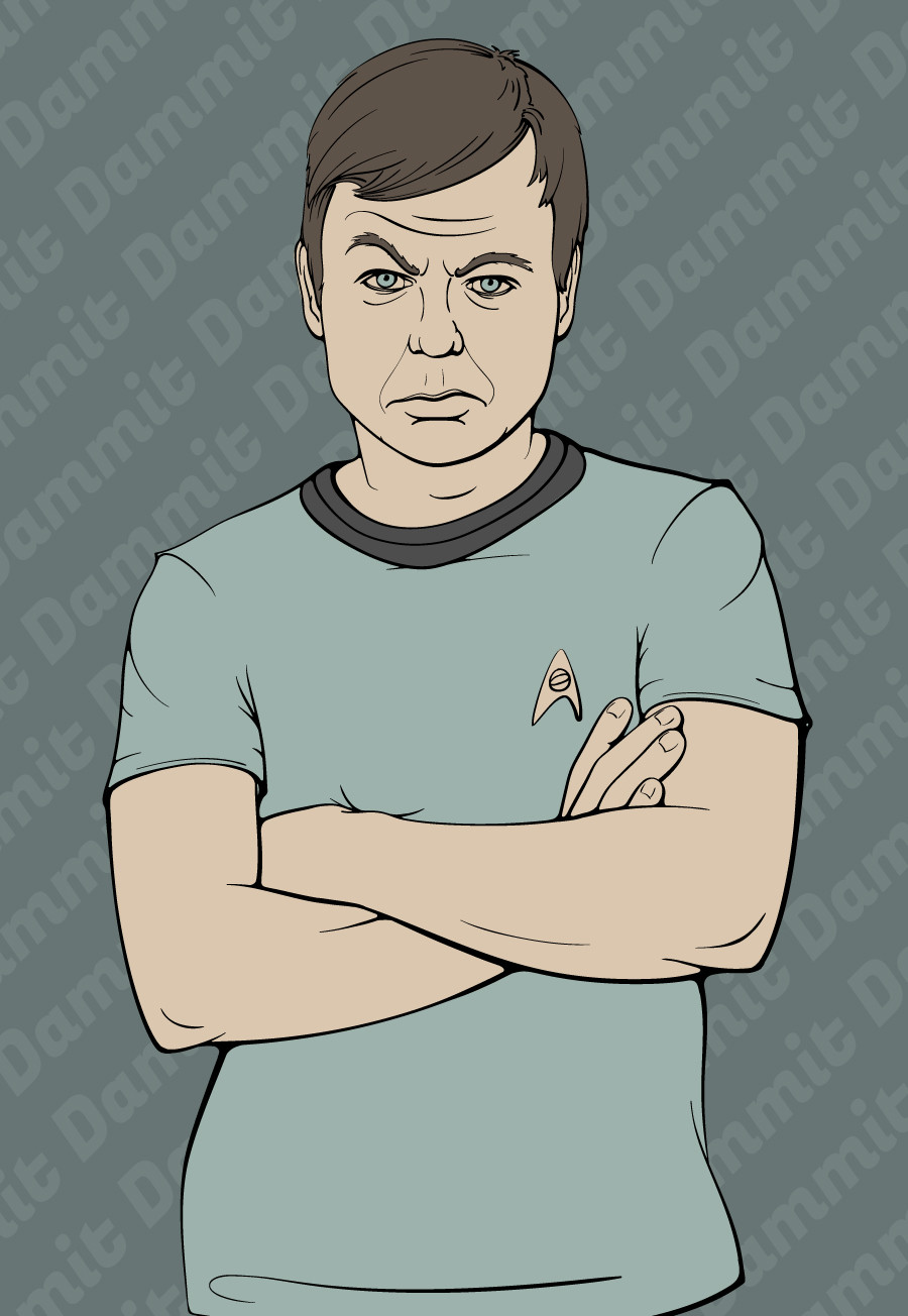 "Desktop background illustration of Leonnard ""Bones"" McCoy from Star Trek. Close-up of just McCoy."