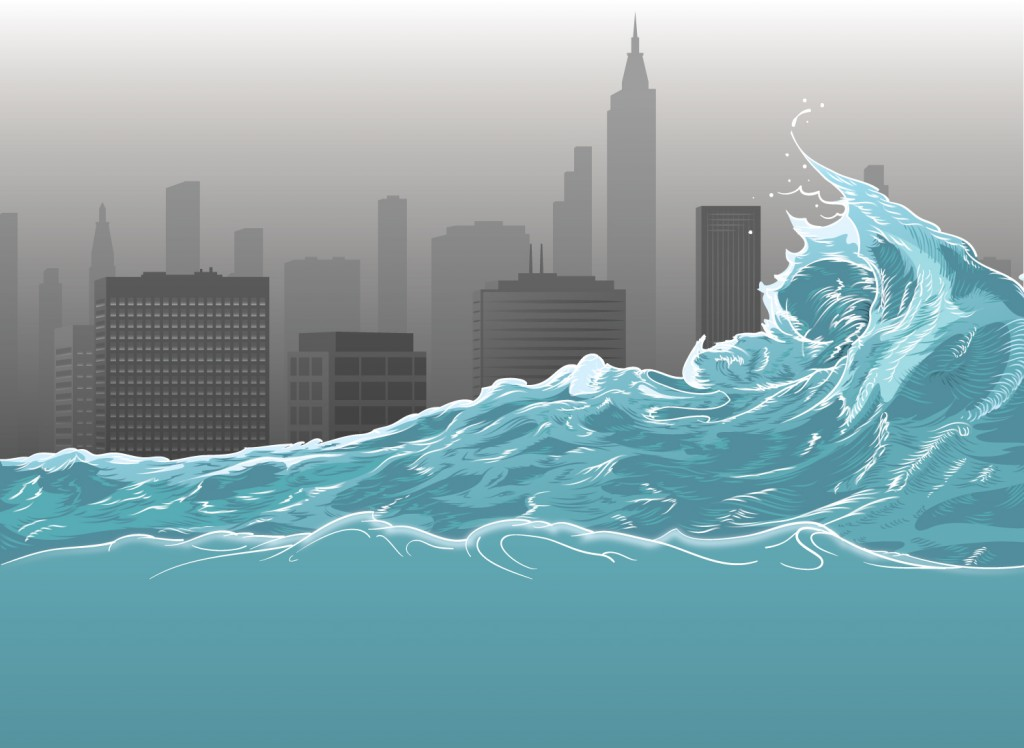 In progress color illustration of the ocean, waves, and a heavily polluted city in the background.