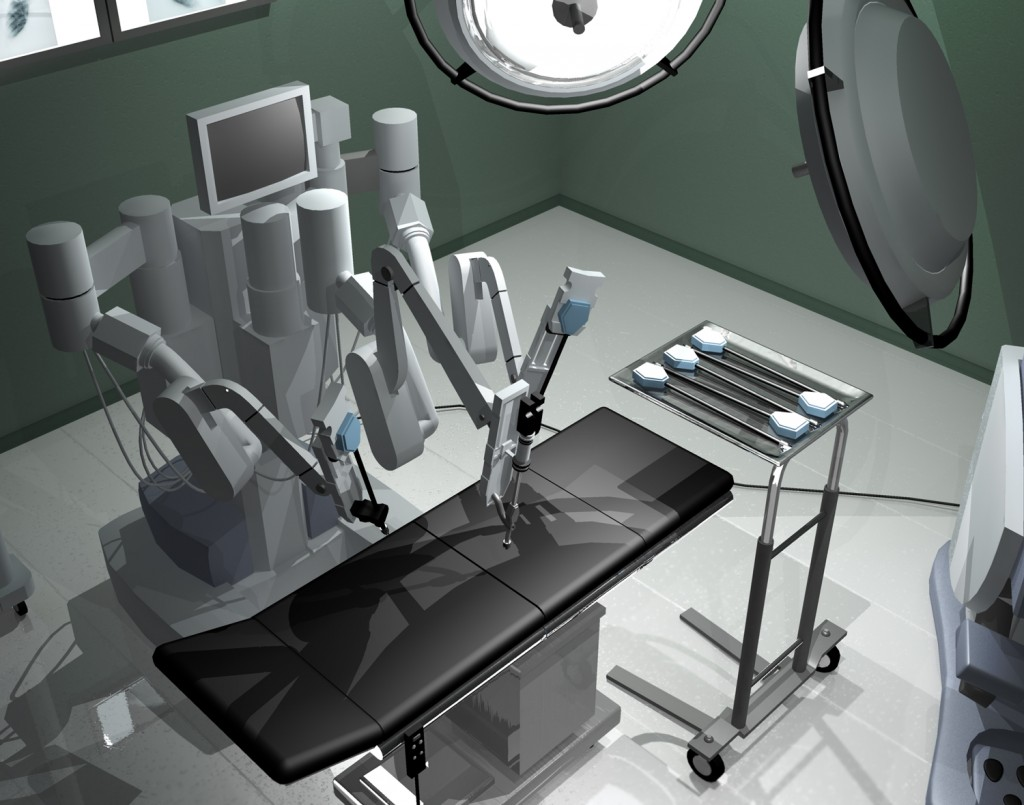 Full color 2D render of a 3D scene. Hospital room with equipment, lights, table, instrument cart, da Vinci Si Surgical System