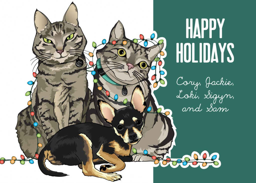 Color illustration of two gray and black striped, domestic shorthair cats, and a black and tan chihuahua on a holiday card.