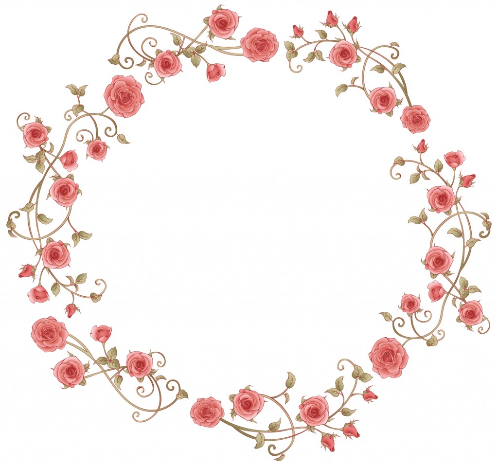 Pink rose illustrations forming a cirlce.