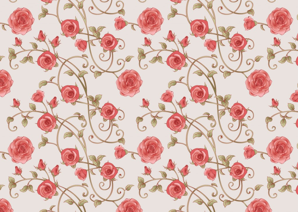 Pink rose pattern on an offwhite background