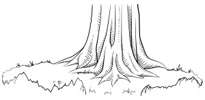 Black and white line art sketch of a tree trunk from a game of exquisite corpse.
