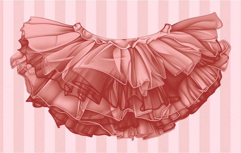 Pink Tutu illustration on a pink striped background