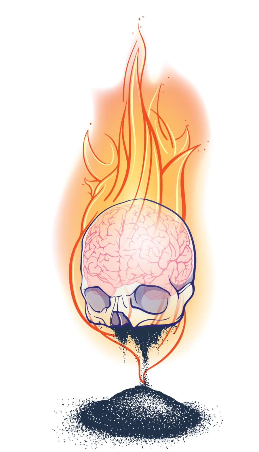 In progress color illustration of a skull on fire. Brain is visible. Pile of ashes lies beneath skull.