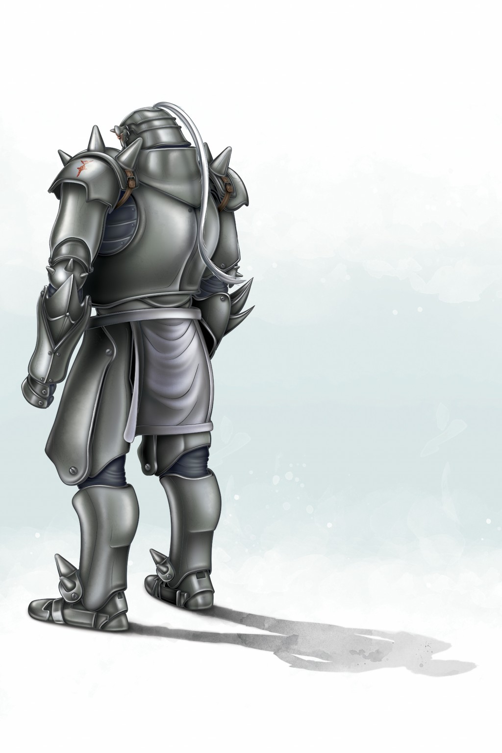 Color Photoshop painting of Alphonse Elric from Full Metal Alchemist. A Suit of Armor on a green background.