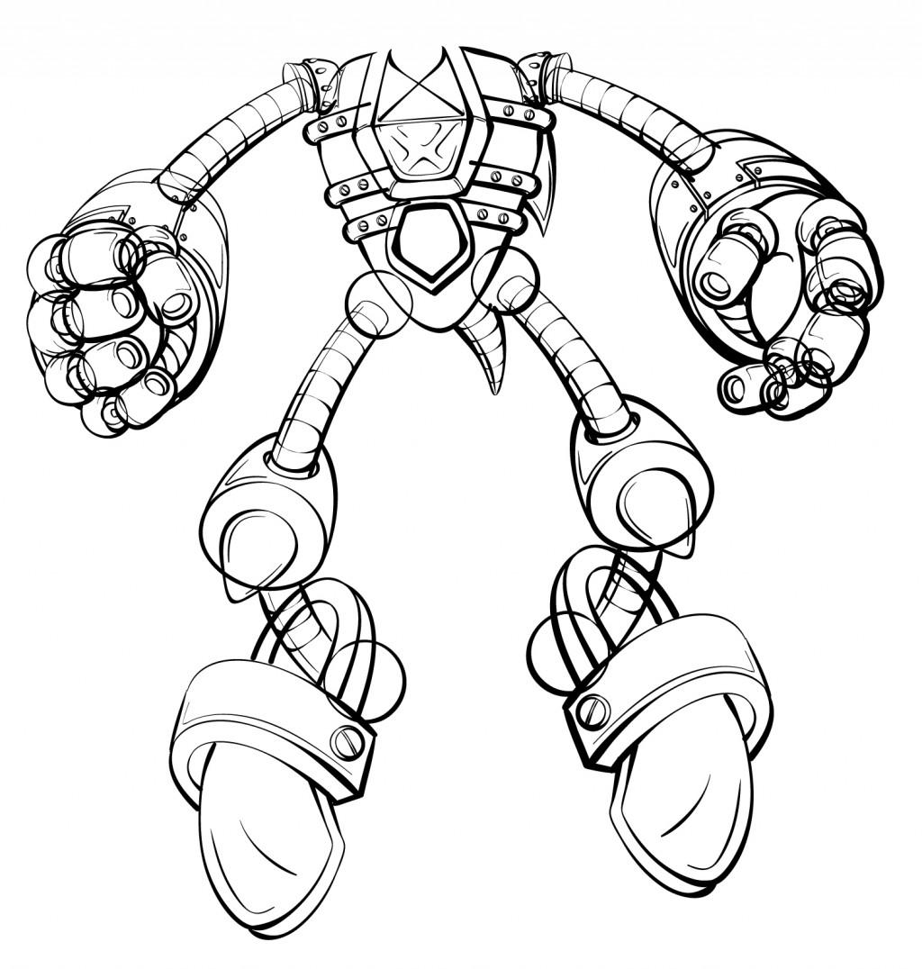 Line sketch of Mecha Sonic, currently headless. In progress sketch of just Metal Sonic.