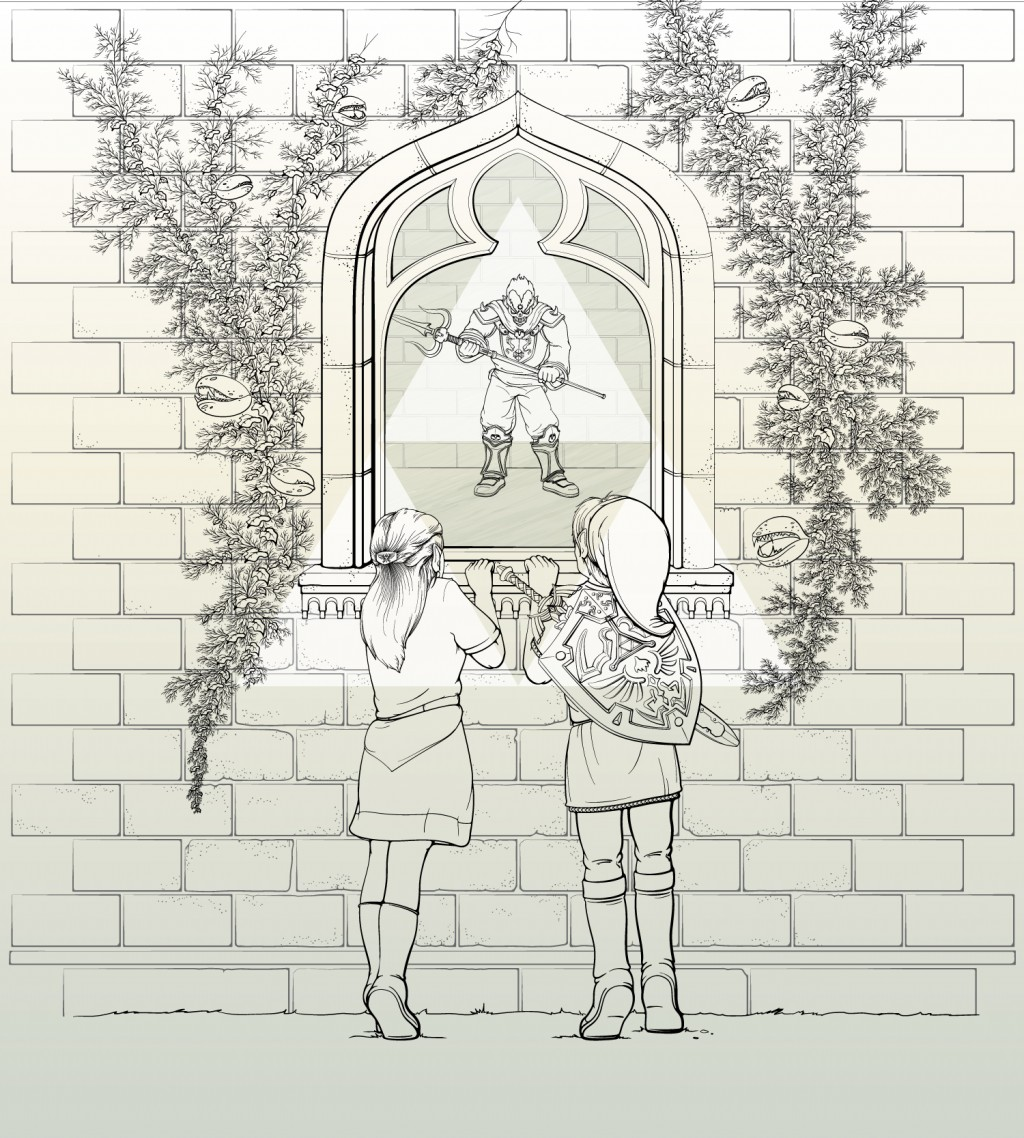 Black and white line of scene from Legend of Zelda Ocarina of Time. Unfinished. Zelda and Link looking through window. Gannon inside window. Vines on either side of window.