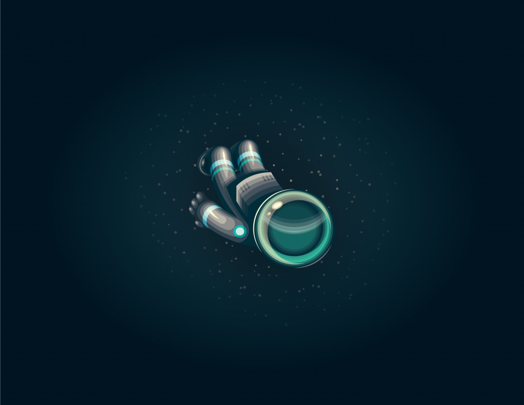 Full color stylized illustration of a single astronaut floating in space. Dark background