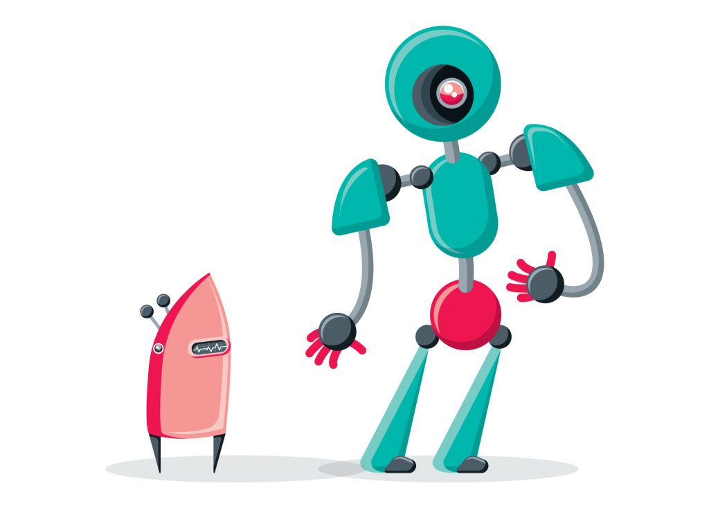 Full color stylized illustration of two robots.