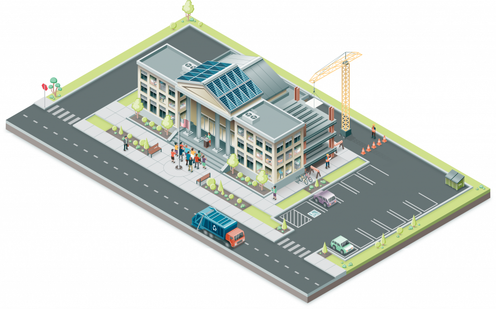 Isometric illustration, 1/3 of a series of an office building, full color, showing various activities inside and outside, people, a road, and landscaping.