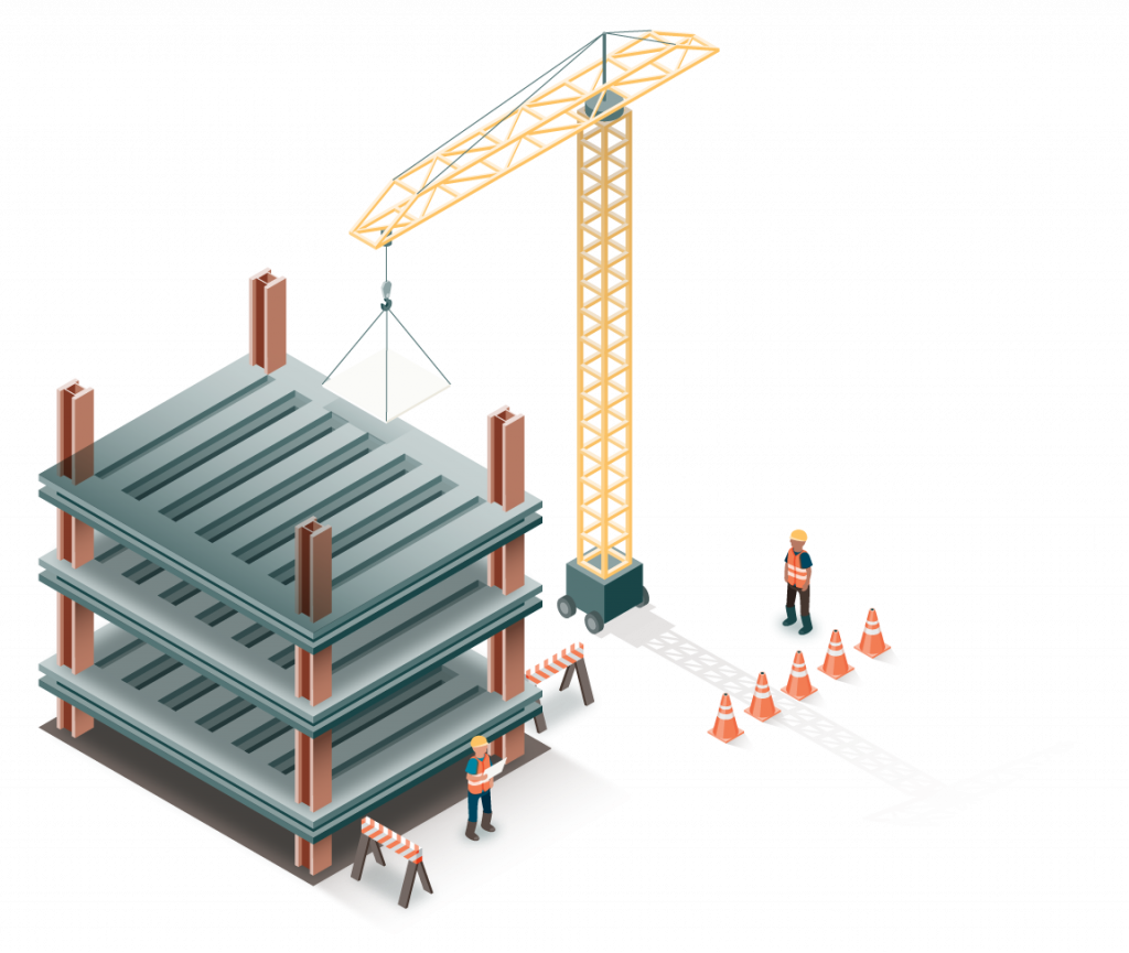 Isometric illustration, full color, close up of a portion of the full illustration, showing a construction site and workers.