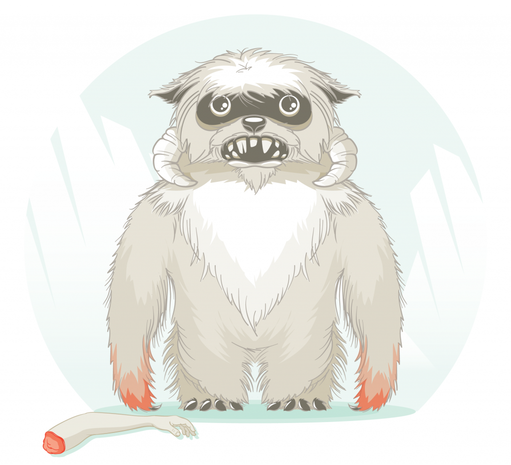 Full color stylized illustration of a Wampa, a character from Star Wars, for May the Fourth.