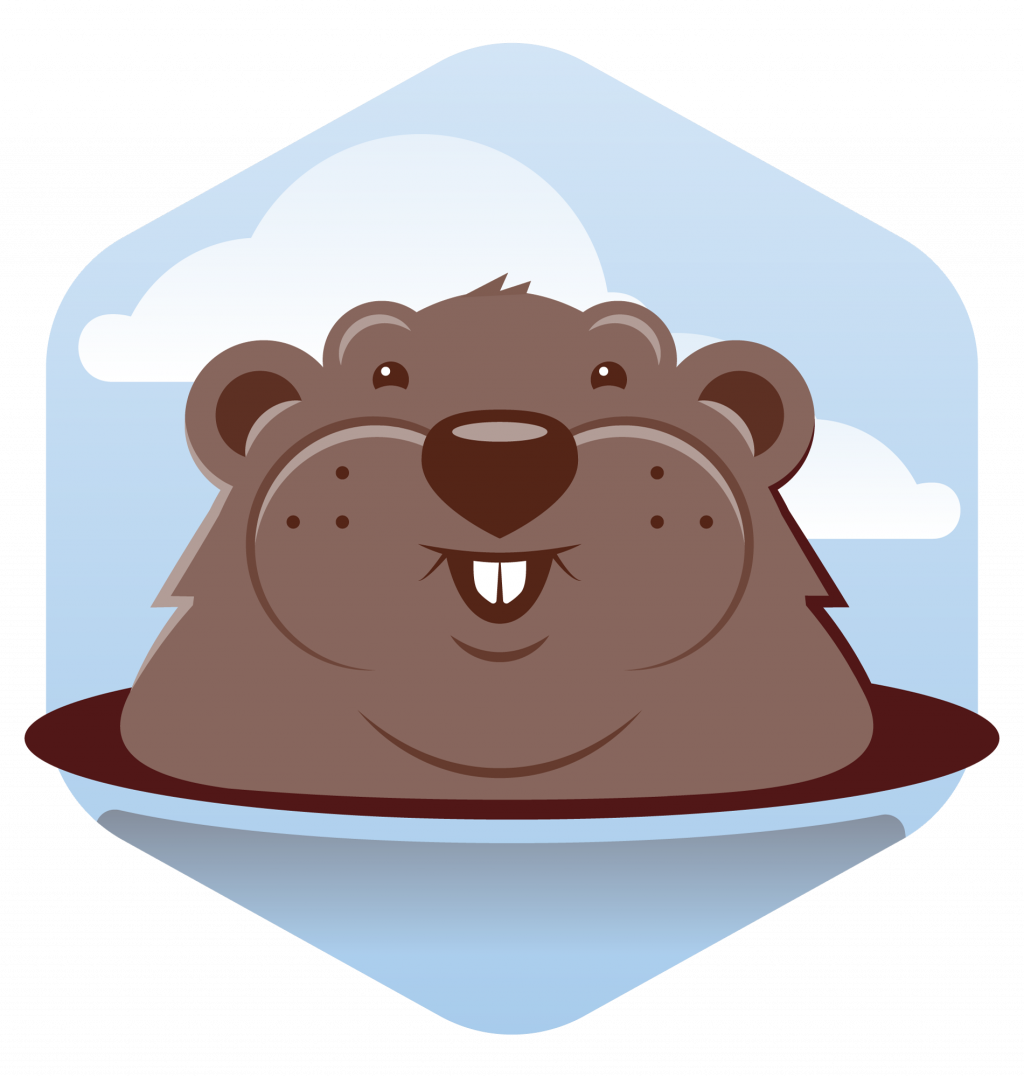 Flat color stylized icon of a gopher peaking out of hole.