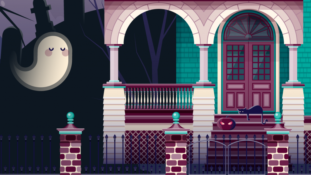 Detail view of a color illustration of a haunted house, with ghosts, graveyard, pumpkins, and the moon.