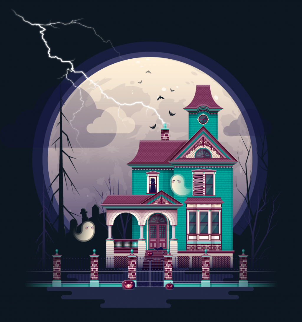 Color illustration of a haunted house, with ghosts, graveyard, pumpkins, and the moon.