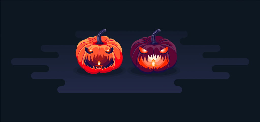 Two orange and purple color illustrations of pumpklns with scary faces for Halloween.