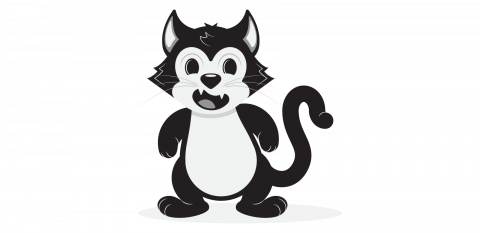 Black and white sketch of a cartoon cat character. Fleischer animation style