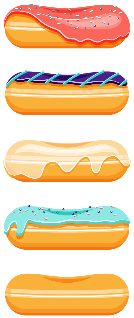 Stylized color illustration of a stack of 5 donuts, 1 plain, and 3 decorated.