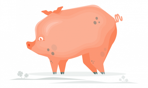 Stylized drawing of a pink pig with cool gray spots.