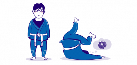 Stylized self portraits. Martial arts. Two poses in the gi. Color illustration.