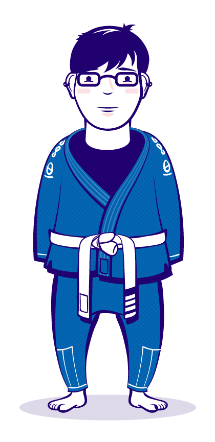 Stylized self portrait. Martial arts. Gi. Color illustration.