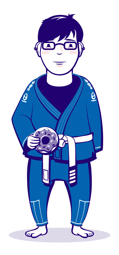 Stylized self portrait. Martial arts. Gi, holding a donut. Color illustration.