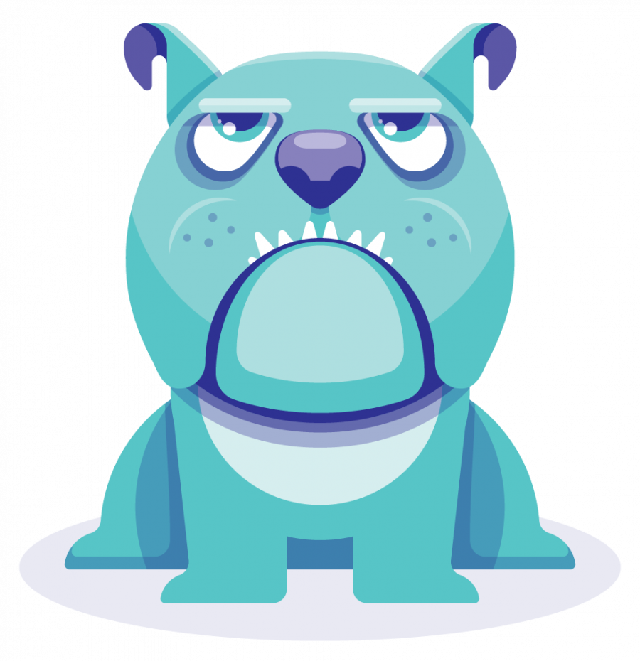 Blue, purple, and green character illustration of a dog with bulldog features.