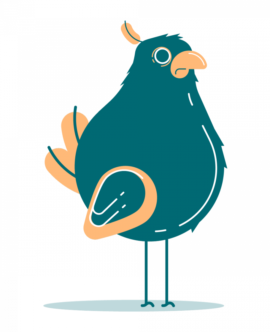 Flat color illustration of a bird. Stylized, blue and orange.