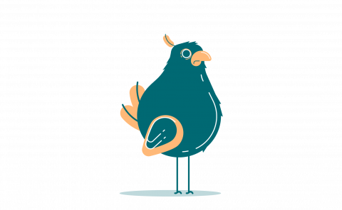 Flat color illustration of a bird. Stylized, blue and orange. Featured.