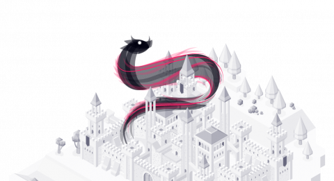 Grayscale monotone isometric illustration of a castle and landscape with a pink and black swirling abstract dragon around the top of the castle.
