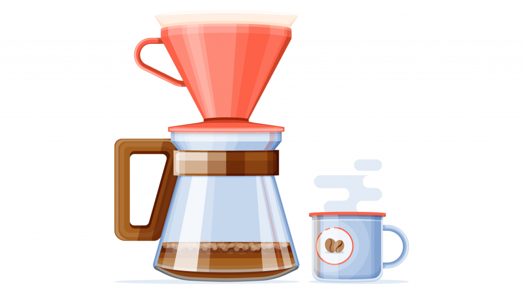 Stylized full color illustration of pour over coffee brewing set up with a mug of coffee sitting next to it.