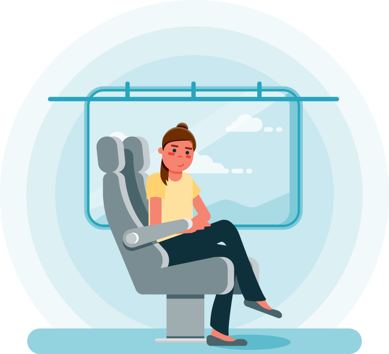 Flat design full color illustration of a passenger riding a bus. Monochromatic background.