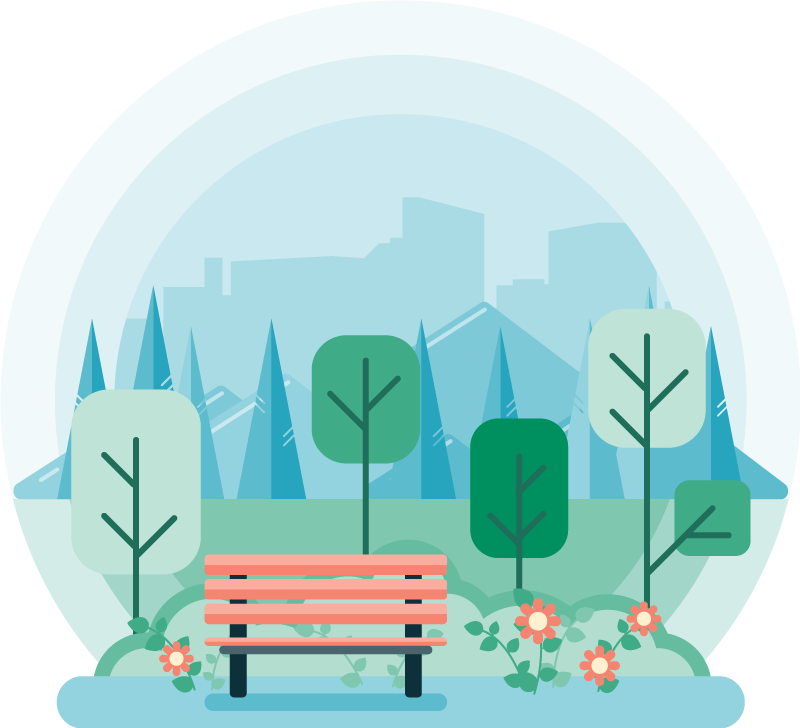 Flat design full color illustration of a green city park with a bench. Monochromatic background.