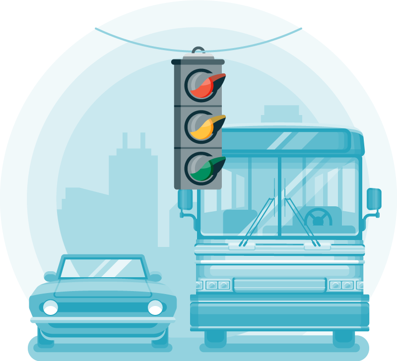 Flat design full color illustration of a stoplight. Monochromatic background with a bus and a car.