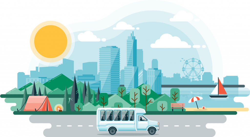Flat design full color illustration of a city with a lake, park, and a bus driving along a road in the foreground.